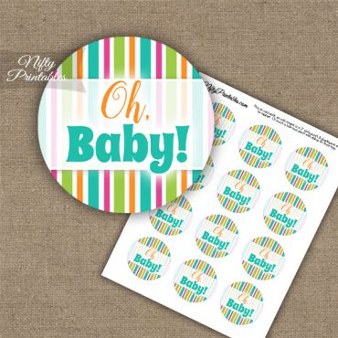 Oh Baby - Baby Shower Toppers - Tropical Stripe