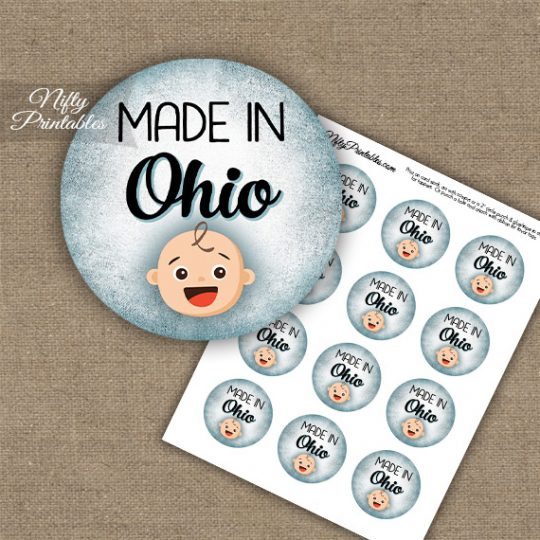 Ohio White Baby - Blue Cupcake Toppers