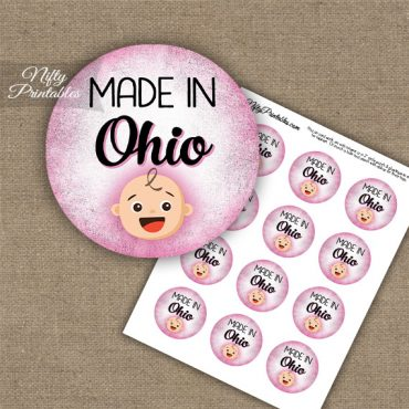 Ohio White Baby - Pink Cupcake Toppers