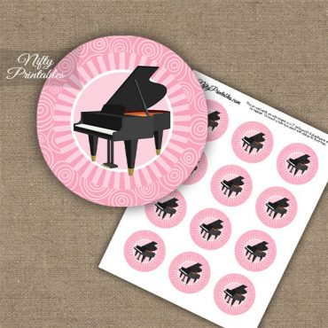 Piano Music Swirl Cupcake Toppers - Pink