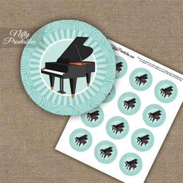 Piano Music Swirl Cupcake Toppers - Turquoise