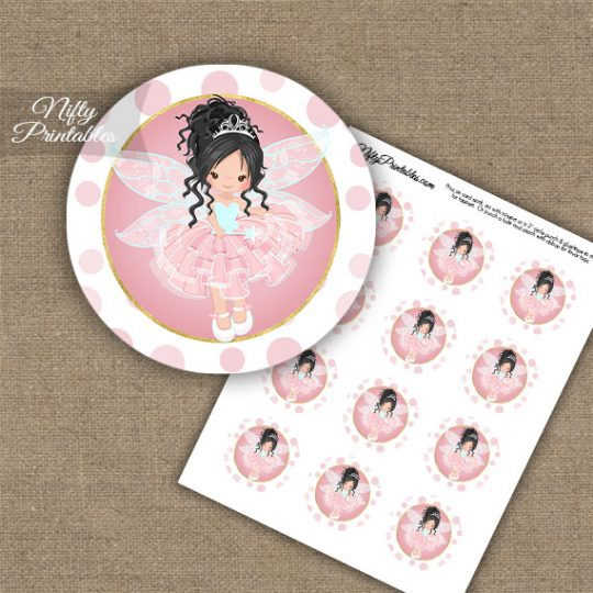 Pink Fairy Black Hair Cupcake Toppers