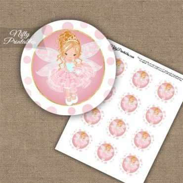 Pink Fairy Blonde Hair Cupcake Toppers