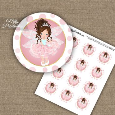 Pink Fairy Brown Hair Cupcake Toppers