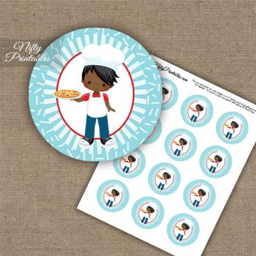 Pizza Boy African American Cupcake Toppers