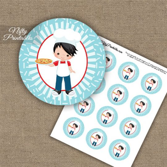 Pizza Boy Black Hair Cupcake Toppers