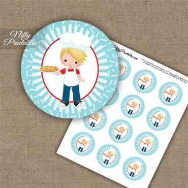 Pizza Boy Blonde Hair Cupcake Toppers