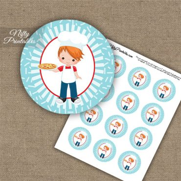 Pizza Boy Red Hair Cupcake Toppers