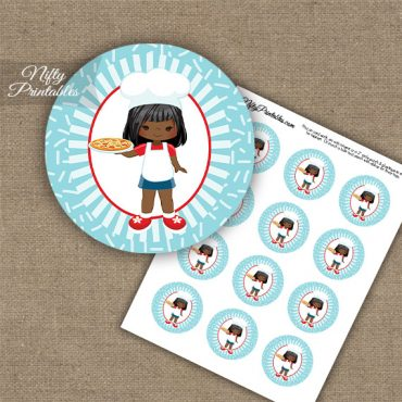 Pizza Girl African American Cupcake Toppers