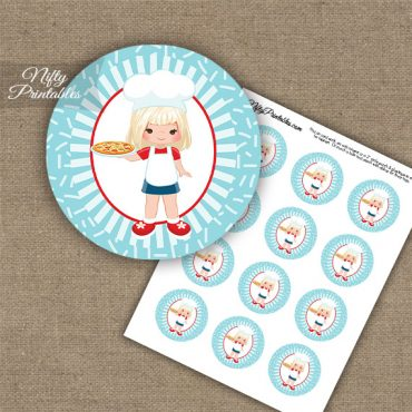 Pizza Girl Blonde Hair Cupcake Toppers