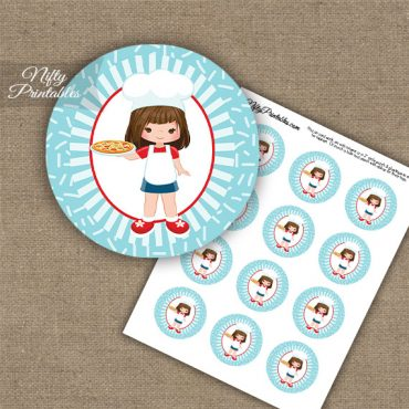 Pizza Girl Brown Hair Cupcake Toppers
