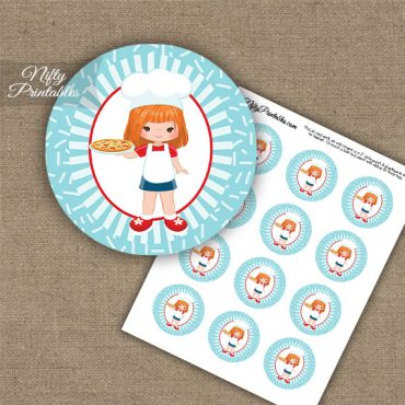 Pizza Girl Red Hair Cupcake Toppers