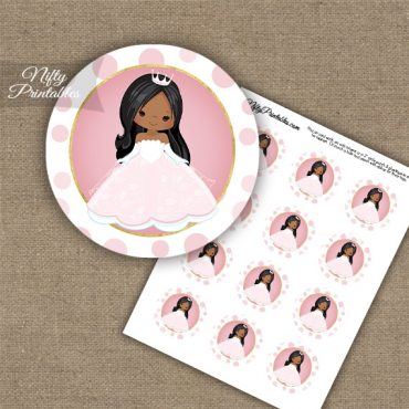 Princess Girl African American Cupcake Toppers