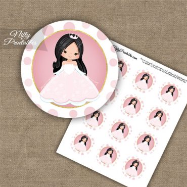 Princess Girl Black Hair Cupcake Toppers