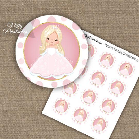 Princess Girl Blonde Hair Cupcake Toppers
