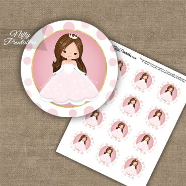 Princess Girl Brown Hair Cupcake Toppers