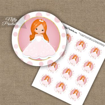 Princess Girl Red Hair Cupcake Toppers