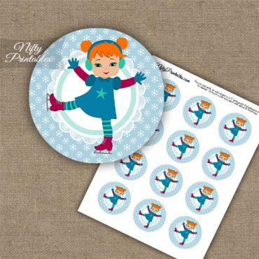 Ice Skater Girl -Red Hair - Cupcake Toppers