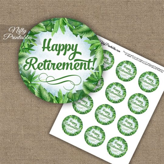 Retirement Cupcake Toppers - Greenery