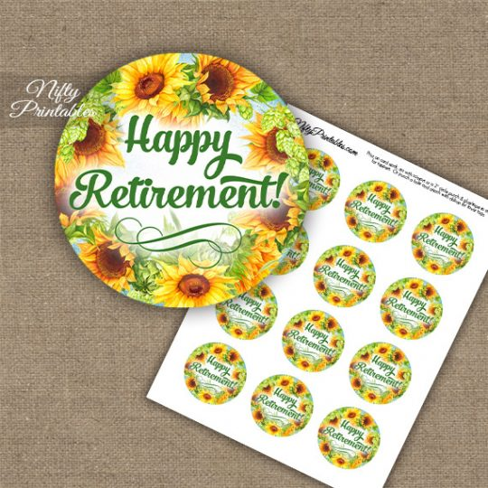 Retirement Cupcake Toppers - Sunflowers