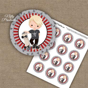 Skateboarder Boy Blonde Hair Cupcake Toppers