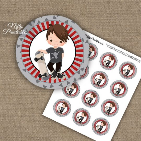 Skateboarder Boy Brown Hair Cupcake Toppers