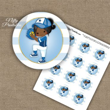 Softball Girl Blue African American Cupcake Toppers