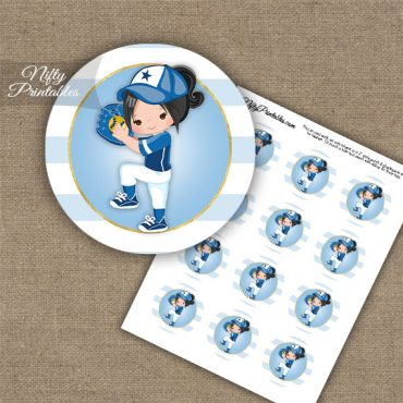 Softball Girl Blue Black Hair Cupcake Toppers