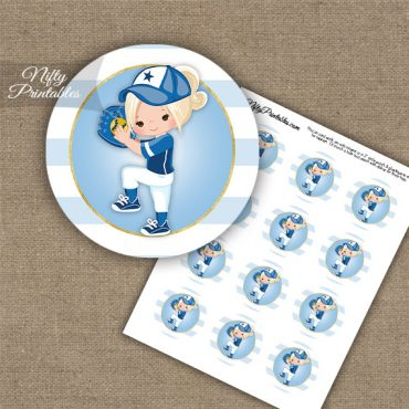 Softball Girl Blue Blonde Hair Cupcake Toppers