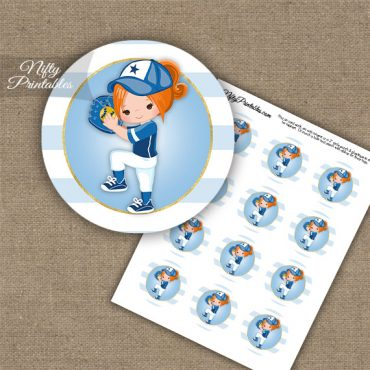 Softball Girl Blue Red Hair Cupcake Toppers