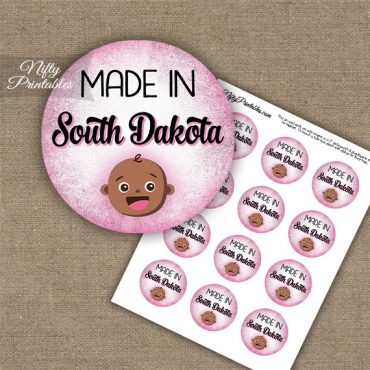 South Dakota Black Baby - Pink Cupcake Toppers