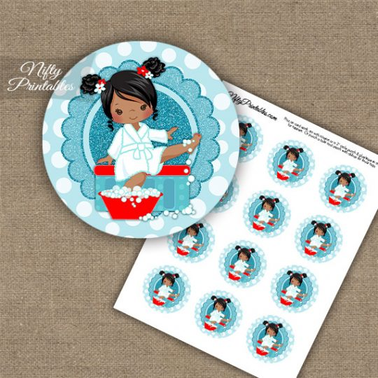Spa Girl African American Cupcake Toppers