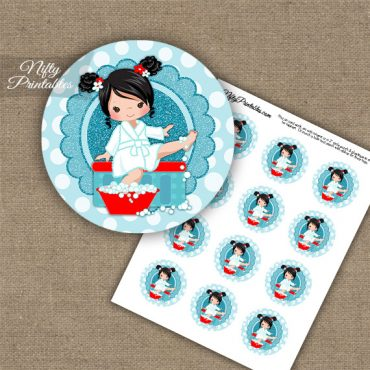 Spa Girl Black Hair Cupcake Toppers
