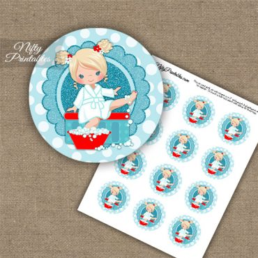 Spa Girl Blonde Hair Cupcake Toppers