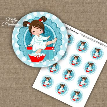 Spa Girl Brown Hair Cupcake Toppers