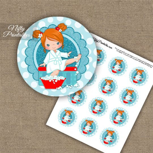 Spa Girl Red Hair Cupcake Toppers