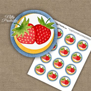 Strawberries Cupcake Toppers Blue Yellow