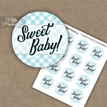 Sweet Baby Gingham - Baby Shower Toppers - Blue