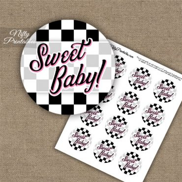 Sweet Baby Checkerboard - Baby Shower Toppers - Black White Pink