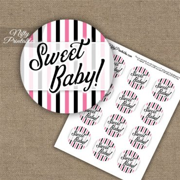 Sweet Baby - Baby Shower Toppers - Pink Black Stripe