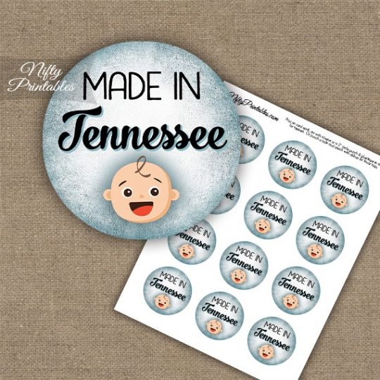 Tennessee White Baby - Blue Cupcake Toppers