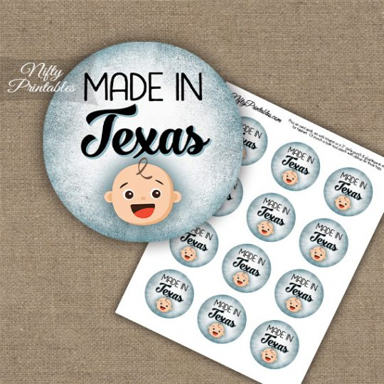 Texas White Baby - Blue Cupcake Toppers