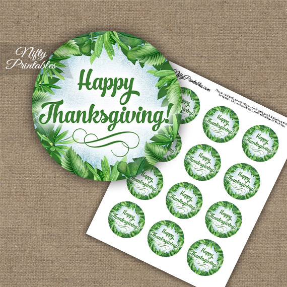 Thanksgiving Cupcake Toppers - Greenery