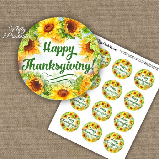 Thanksgiving Cupcake Toppers - Sunflowers