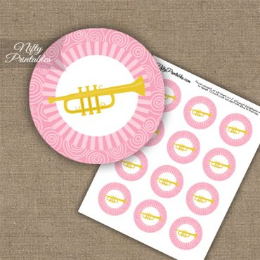 Trumpet Music Swirl Cupcake Toppers - Pink