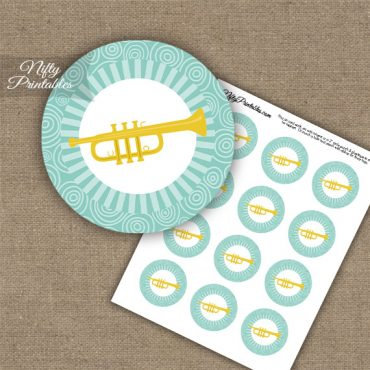 Trumpet Music Swirl Cupcake Toppers - Turquoise