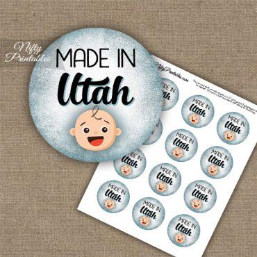 Utah White Baby - Blue Cupcake Toppers