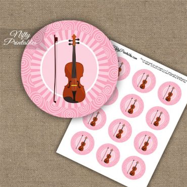 Violin Music Swirl Cupcake Toppers - Pink