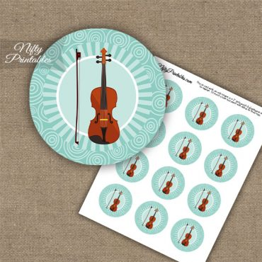 Violin Music Swirl Cupcake Toppers - Turquoise