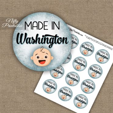 Washington White Baby - Blue Cupcake Toppers